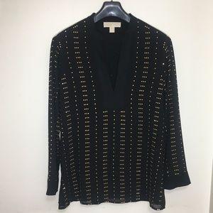 MICHAEL Michael Kors Blouse Black w/ Gold Beads; S